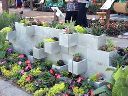 concrete block planter wall