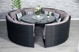 conservatory black rattan outdoor garden sofa round dining table set furniture maxi patio tables with umbrella