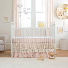 pale pink and gold chevron 2 piece crib bedding set