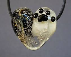 pet memorial ashes gl heart necklace memorial pets ashes fur paw print keepsake gl pet cremation jewelry by trina rindy