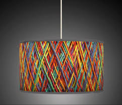 20cm 8 String Effect Orange Yellow Blue Retro Handmade Giclee Style Printed Fabric Lamp Drum Lampshade Floor Ceiling Pendant Light Shade 602