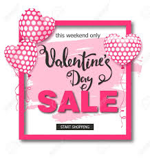 Valentines Flyers Valentines Day Sale Background With Balloons Heart Vector Illustration