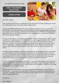 Awesome Early Childhood Education Resume Cover Letter About Early ...