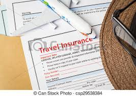 Mock Application Form Travel Insurance Claim Application Form And Hat With Eyeglass On Brown Envelope Business Insurance And Risk Concept Document And Plane Is Mock Up