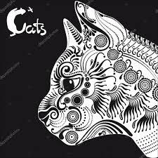 Bílá Kočka Dekorativní Vzor Tetování Nebo Vzorník Stock Vektor