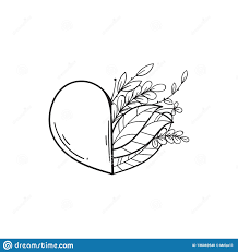 Half Heart Template Half Of Heart With Green Leaves Symbol Of Love And Life