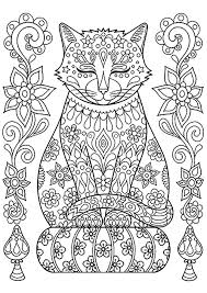 Cute Cat On Pillow With Flowers Cats Adult Coloring Pages