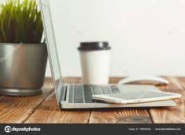 laptop office desk. Office Desk Laptop Smart Phone Business Background \u2014 Stock Photo