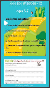 First Grade English Worksheets: Wizard of Oz themed | Grammar ...
