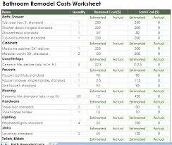 Remodeling Budget Spreadsheet Bathroom Remodel Estimate Estimate