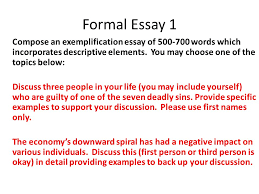 chapter good writers are good readers ppt  formal essay 1 compose an exemplification essay of 500 700 words which incorporates descriptive elements