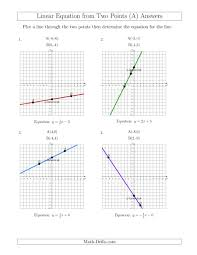 determine a linear equation by graphing two points equations worksheet answer key the determine math page