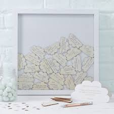 Guest Book Drop Frame Wooden Cloud Messages Wishes Hello Baby Shower Message Book
