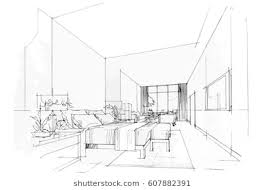 interior design bedroom sketches. Streaks Bedroom, Black And White Interior Design. Vector Sketch Design Bedroom Sketches