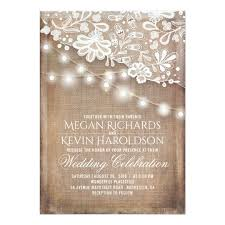Burlap And Lace Wedding Invitations Rustic Country Burlap String Lights Lace Wedding Invitation Zazzle Com
