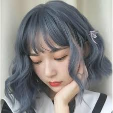 wig blue gray short curly hair j pop
