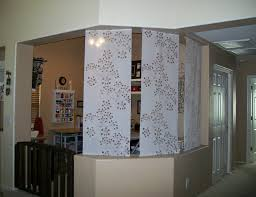 Ikea Room Divider With White Floral Pattern Curtain Panels On Beige  Concrete Dock, Remarkable Room