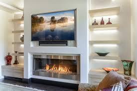 flat fireplace modern gas fireplace a flat screen tv mounted over