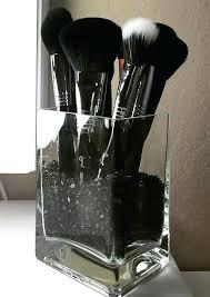 black wooden makeup organizer glass brush holder by on studio
