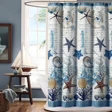 ds bath under the sea blue seashell polyester fabric shower curtain mildew resistant shower curtains for