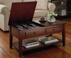 storage coffee table living room furniture dual lid cd dvd