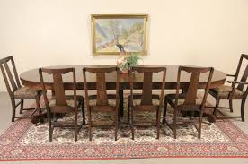 oak 4 round 1900 antique pedestal dining table 6 leaves