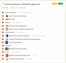 School Supply List School Supply List For 6th Grade