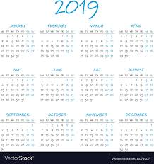 Year To Year Calendar Simple 2019 Year Calendar Royalty Free Vector Image
