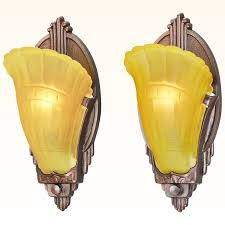 art deco pair of vintage wall sconces slip shade 1930s light fixtures ant 813