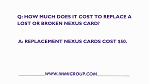 how much does it cost to replace a nexus card