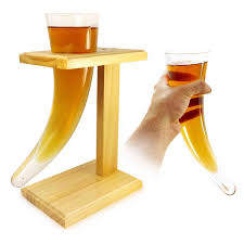 glass viking drinking horn barware with wood stand 1a