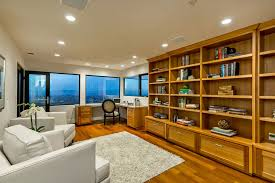 home office shelving. Home Office Shelving Modern With Clear Stained Custom Eucalyptus. Image By: JCA ARCHITECTS