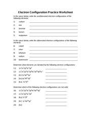 Chapter 8 Worksheet Electron Configuration Practice