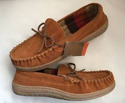 details about route 66 jordan slippers mens size 8 tan suede leather rubber sole moccasins