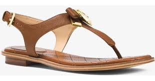 michael michael kors alice saffiano leather sandal in brown save 52 lyst