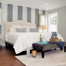 Master Suite with Striped Accent Wall