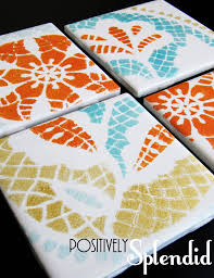 diy painted ceramic tile tutorial positively splendid crafts sewing recipes and home decor