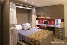 ... Double fold down wall bed with storage units and home office sequence  open ...