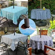 outdoor patio tablecloth with umbrella hole and zipper water stain resistant