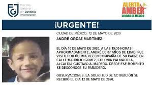 Activan AlertaAmber para localizar a André Ordaz Martínez ...