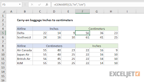 Excel Formula Carry On Baggage Inches To Centimeters Exceljet