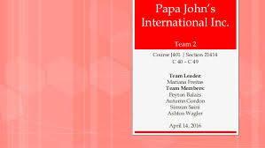 Papa Johns Size Chart Case Analysis Project Papa Johns
