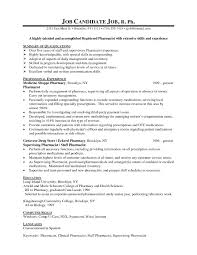 Resume Examples For Pharmacists