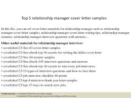 Sample Cover Letter For Client Relationship Manager Top 5 Relationship Manager Cover Letter Samples