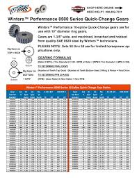 Winters Quick Change Gear Chart