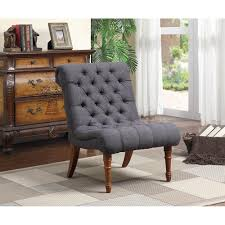 tufted armless gray accent chair