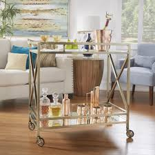 Metropolitan Antique Brass Metal Mobile Bar Cart with Mirror Glass Top by  iNSPIRE Q Bold - Free Shipping Today - Overstock.com - 20484323