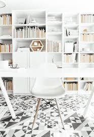 home office bookshelf ideas. Home Office Bookshelf Ideas Scandinavian With Patterned Floor Tile White Desk L