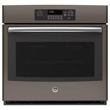ge 30 in single electric wall oven self cleaning in slate fingerprint resistant