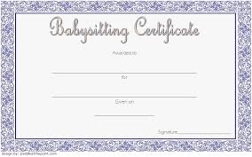 babysitting certificates babysitting certificate template 01 one package